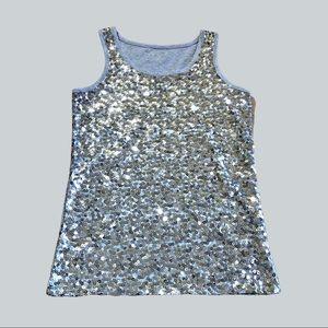 Cherokee Women's Silver Sequin Sleeveless Tank Top